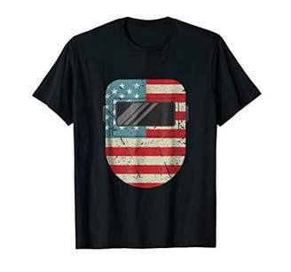 Welder American Flag Shirt USA Flag Welding Hood T-Shirt
