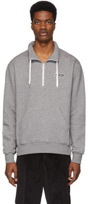 Ami Alexandre Mattiussi Grey Ami Paris Patch Half-Zipped Sweatshirt