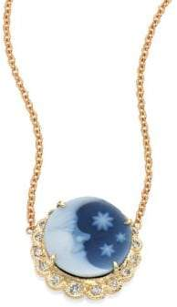 Jacquie Aiche Blue Moon& Stars Diamond& 14K Yellow Gold Cameo Necklace