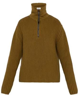 Acne Studios High Neck Cotton Blend Sweater - Mens - Green