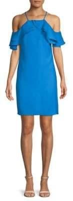 Nicole Miller Ruffled Cold-Shoulder Dress