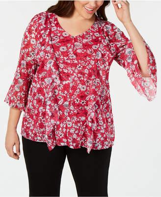 Alfani Plus Size Printed Ruffled Mesh Top