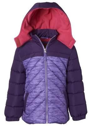 Pink Platinum Colorblock Hooded Active Puffer Jacket (Little Girls & Big Girls)