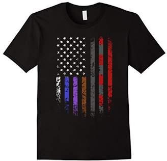 Brazilian Jiu-Jitsu BJJ Belts American Flag Grunge T-Shirt
