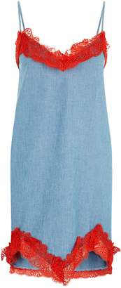 Pinko Lace Trim Chambray Dress