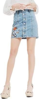 Blu Pepper Emboridery Denim Skirt
