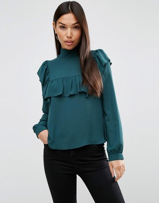 ASOS High Neck Blouse with Ruffle & Sheer Bib $46 thestylecure.com