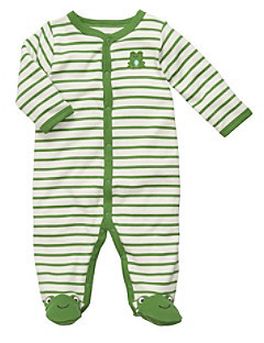 Carter's Baby Boys' Green/White Striped Frog Footie