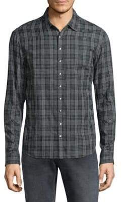 John Varvatos Snap Button Plaid Shirt