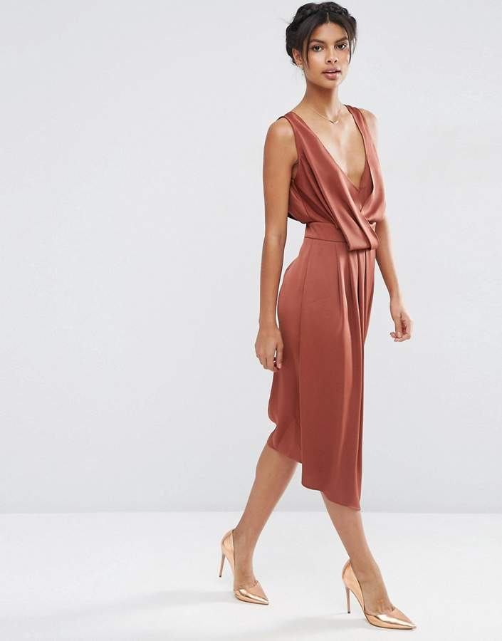 Asos ASOS Drape Front Midi Dress with Cross Back Straps