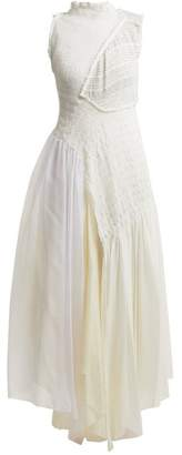 Jil Sander Effervescent Asymmetric Smocked Dress - Womens - Ivory Multi
