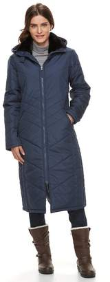 KC Collections Women's Hooded Faux-Fur Trim Long Puffer Jacket