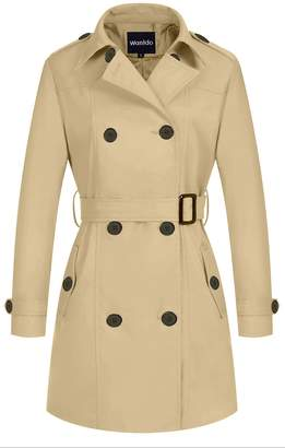 Wantdo Women's Windproof Jacket Double Breasted Trench Coat