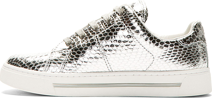 Marc by Marc Jacobs Silver Leather Scale Embossed Sneakers