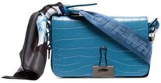 Off-White Blue mini crocodile embossed leather scarf bag