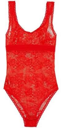 Stella McCartney Open Knit-Trimmed Lace Bodysuit