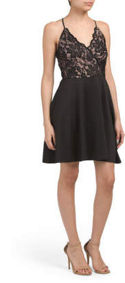 Juniors Lace Surplice Skater Dress