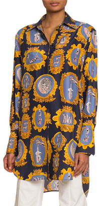 Chloé Medallion-Print Silk Button-Front Shirt