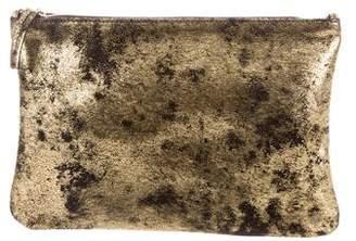 Clare Vivier Distressed Metallic Leather Clutch