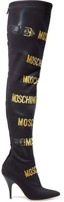 Moschino Printed Stretch-Neoprene Over-The-Knee Boots