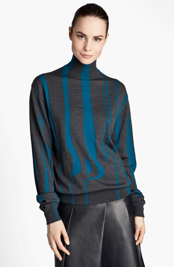 Jil Sander Intarsia Knit Turtleneck Sweater