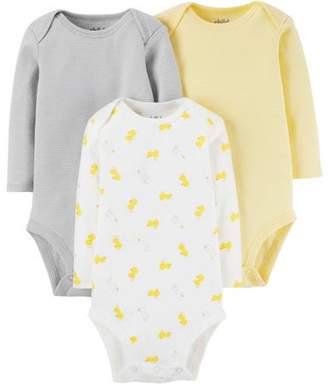 Carter's Child of Mine by Newborn Baby Neutral Long Sleeve Basic 3 Pack Bodysuit