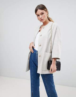 Helene Berman Wool Blend Kimono Coat with Cropped Sleeves