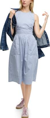 J.Crew Stripe Cotton Poplin Apron Dress