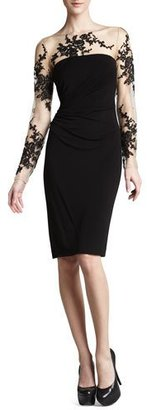 David Meister Long-Sleeve Embroidered Jersey Dress $340 thestylecure.com