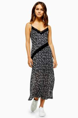 Topshop PETITE Floral Lace Mesh Midi Dress