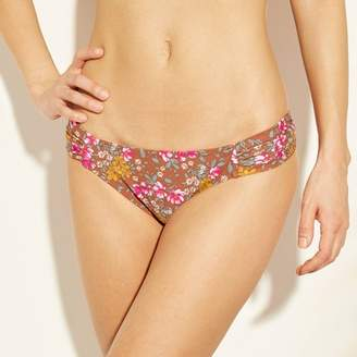 Xhilaration Women's Shirred Tab Cinch Back Hipster Bikini Bottom Sienna Floral