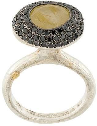 Rosa Maria rutilated yellow quartz and diamond ring