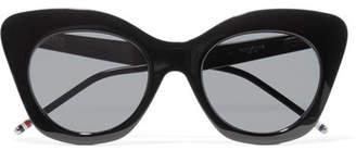 Thom Browne Cat-eye Acetate Mirrored Sunglasses - Black