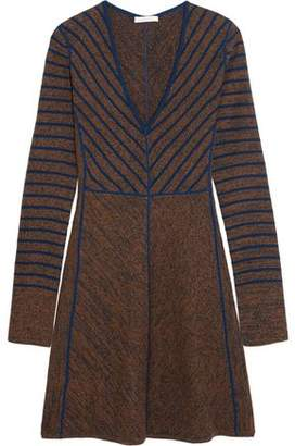 See by Chloe Flared Striped Wool Mini Dress