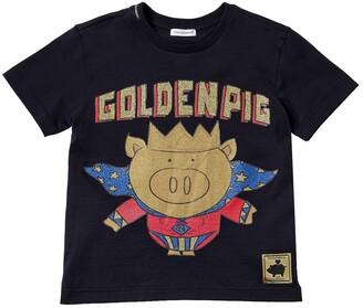 Dolce & Gabbana Golden Pig Print Cotton Jersey T-shirt