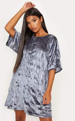 PrettyLittleThing Dusty Pink Velvet Rib Oversized T Shirt Dress