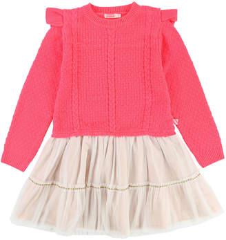 Billieblush Knit Sweater Dress w/ Tulle Skirt, Size 4-8