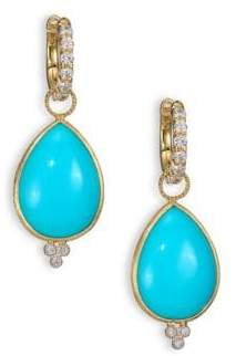 Jude Frances Classic Turquoise, Diamond& 18K Yellow Gold Large Pear Earring Charms