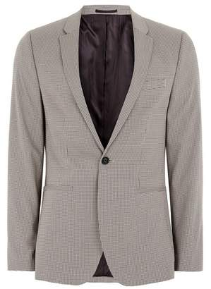 Topman Mens Light Brown Check Ultra Skinny Fit Suit Jacket