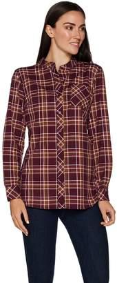 Denim & Co. Plaid Button Front Mandarin Collar Shirt