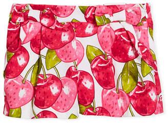 Mayoral Pique Poplin Cherry-Print Shorts, Size 3-7
