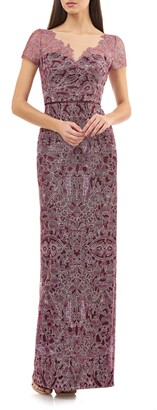 JS Collections Illusion Neck Lace Column Gown