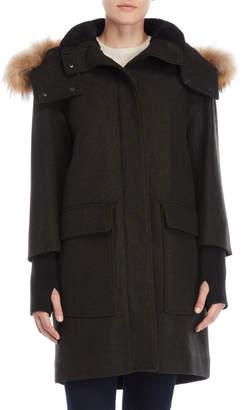 Soia & Kyo Kerr Real Fur Trim Wool Jacket
