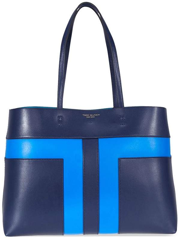 Tory Burch Block-T Pieced Tote - Royal Navy / Galleria Blue - ONE COLOR - STYLE