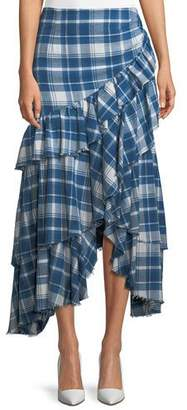 Ralph Lauren Phadra Plaid Blanket Ruffled Tier Cotton Skirt