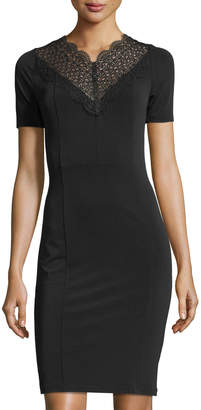 T Tahari Lila Lace Neck Short-Sleeve Fitted Dress $95 thestylecure.com