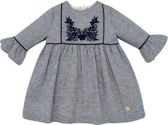 Gingham Trumpet-Sleeve Dress, Size 12M-4