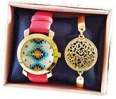 Colosseum レディースオレンジEthnic Bracelet Watchアナログクォーツゴールド色ケースW /ブレスレットandボックス