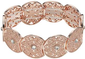 Lauren Conrad Rose Gold Tone Simulated Crystal Filigree Stretch Bracelet