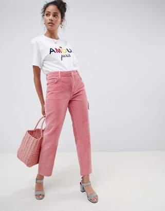Miss Selfridge Straight Leg Cord Pants In Pink